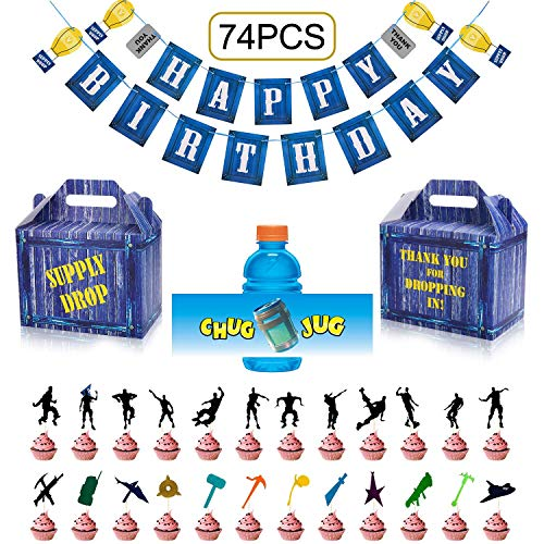 (Birthday Party Supplies Set for Game Themed-Including 24 Chug Jug Bottle Labels,24 Game Party Drop Box,24 Cupcake Toppers(24 Styles),1 Birthday Party Banner )