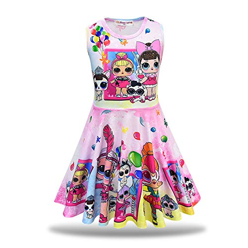 MagJazzy Little Girls Casual Dress Sleeveless Digital Printing Pageant Party Birthday Dress for LOL Doll Surprised (120cm/ 4-5Y, Balloon - Fashion Doll Dress