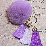 Spritech(TM) Cute Fashion Car Bag Key Chain Accessary Rabbit Fur Plush Key Ring Tassels Pendant for Handbag Knapsack Purple