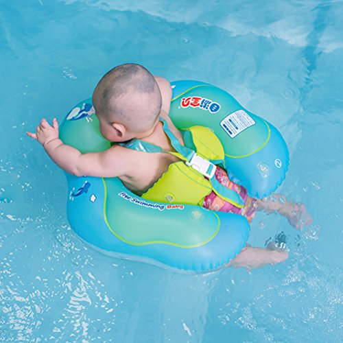 Free Swimming Baby Baby Inflatable Swimming Float Ring Children Waist Float Ring Inflatable Floats Pool Toys Swimming Pool Accessories for the Age of 6-30month(Blue, L) Deluxe Control Package