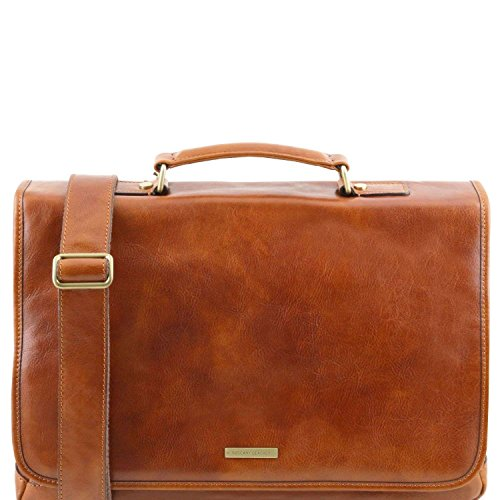 Tuscany Leather - Mantova - Cartable TL SMART multi compartiments en cuir avec rabat - Miel