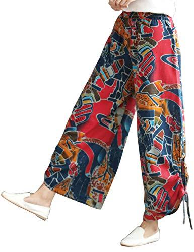 BESBOMIG Casuale Harem Pantaloni Unisex Estate Boho Pantaloni - Aladdin Pantaloni con Colorato Stampa Quotidiano Gamba Larga Pantaloni Rosso Giallo