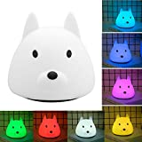 Techway Animal LED Baby Kids Night Light,Cute Portable LED Silicone Soft Touch Dog Nursery Lamp Safe For Kids Children Bedside Bedroom Lamp Birthday Gift