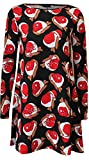 ARAMONIAT Womens Christmas Swing Dress Girls Gift Candy Ladies Gingerbread Snowman Smock Reindeer Skater Mini Dress Size 8-26 (UK SIZE 16-18, RED BACK WITH CHRISTMAS HATS)