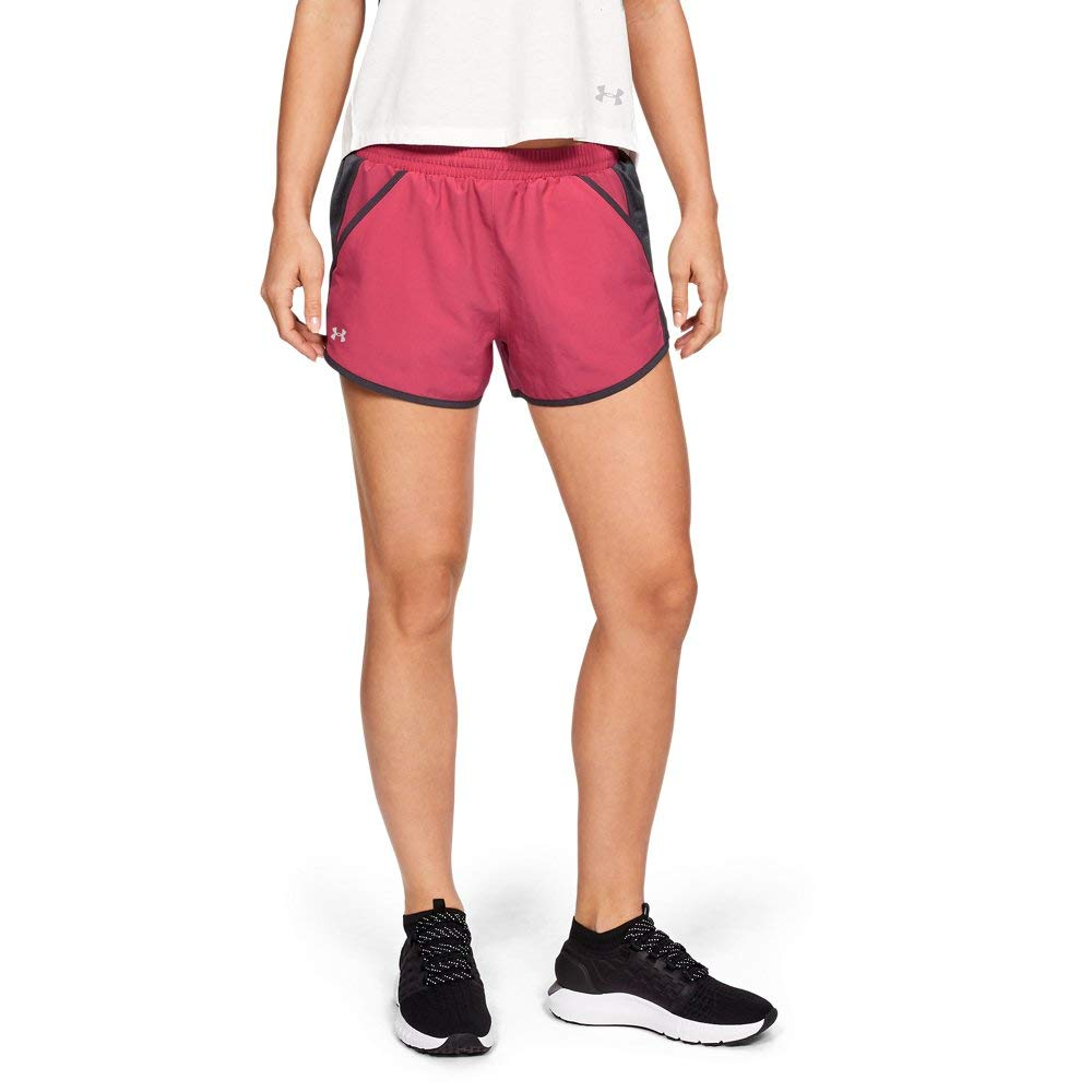 Under Armour womens Fly By Running Shorts, Pink (671)/Reflective, Large by Under Armour