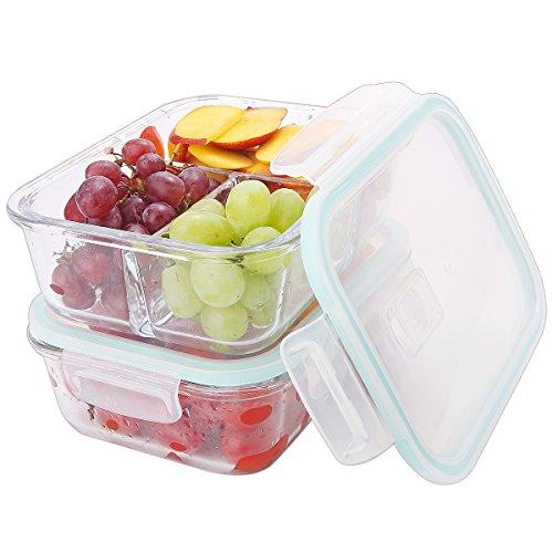 Cam Yemek Hazırlık Gıda Saklama Kabı 3 Bölmeli (2'li Set)