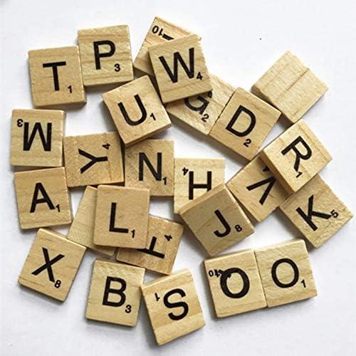 ZAMTAC - 100 Piezas de Madera con Letras del Alfabeto inglés para Scrabble, Letras Negras, números y Manualidades: Amazon.es: Hogar