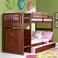 Discovery World Furniture Mission Twin over Twin Staircase Bed with Twin Trundle, Merlot