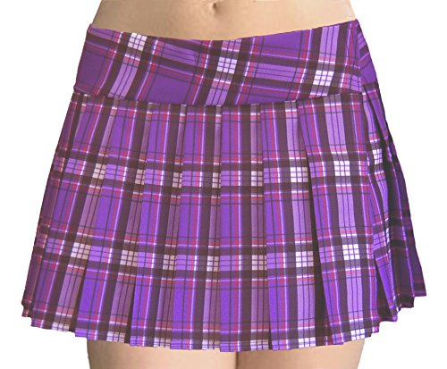 Purple and Black Schoolgirl Tartan Plaid Pleated Mini Skirt Purple (Purple Plaid Skirt)