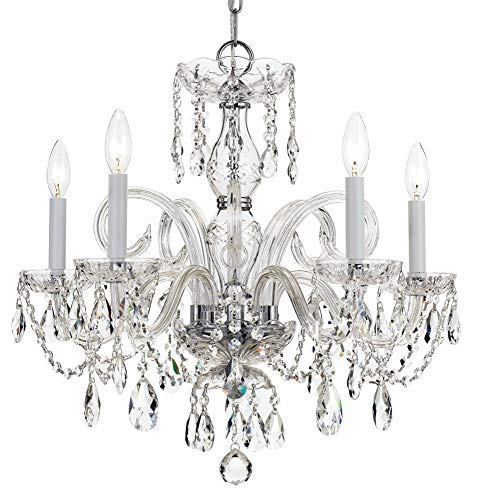 - Crystorama 1005-CH-CL-SAQ Crystal Five Light Chandeliers from Traditional Crystal collection in Chrome, Pol. Nckl.finish,