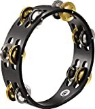 Meinl Percussion CTA2M-BK Compact Tambourine, Steel/Brass Jingles, 2 Rows