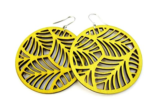 Large Lightweight Yellow Circle Wooden Earrings with Filigree Feather Cut Out Design | Modern Boho Jewellery for Women