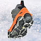Walk Traction Ice Cleat Spikes Crampons with Stainless Steel Chain,Universal Flexible Anti-Slip Ice