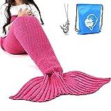 LAGHCAT Mermaid Tail Blanket Crochet Mermaid Blanket for Kids, Soft All Seasons Sleeping Blankets, Classic Pattern (56'x28', Rose Red)