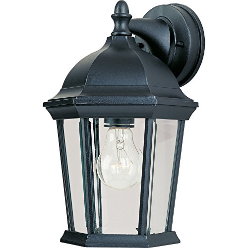- Maxim 1024BK Builder Cast 1-Light Outdoor Wall Lantern, Black Finish, Clear Glass, MB Incandescent Incandescent Bulb , 100W Max., Dry Safety Rating, 2700K Color Temp, Standard Dimmable, Glass Shade Material, 5750 Rated Lumens
