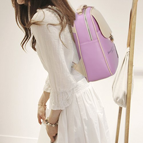 Fashion Colors School Women Backpack Purple Rucksack Style Travel Casual Cartoon Stylish Korean Candy Daypacks Leather Minetom Pu dUFI7PI