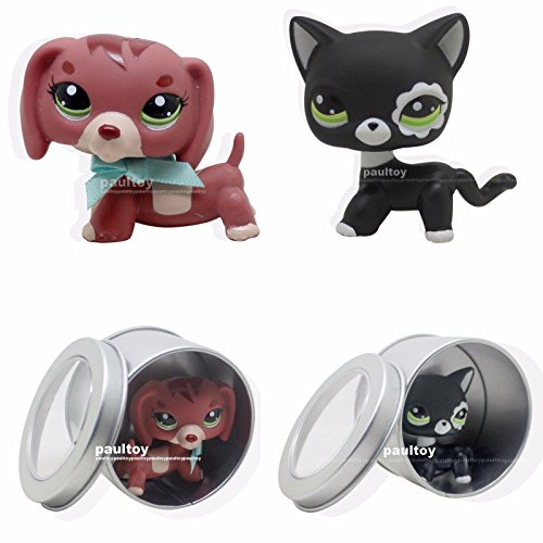 tongrou 2pcs Littlest Pet Shop Dachshund Dog & black cat Puppy Toy LPS #3601 #2249