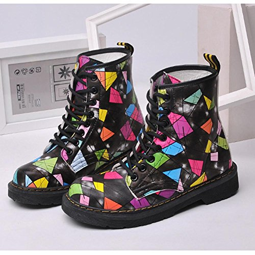 Boots In Piatto Short Pesante picture Casual Tacco color Scarpe Stampa Donne Più Pelle Scarpe Colorato Caldo Peluche Martin Caviglia 8qw5pXE