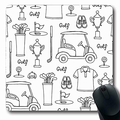 Ahawoso Mousepads Leisure Drawn Golf Sports Recreation Hand Page Black Outline Ball Design Polo Oblong Shape 7.9 x 9.5 Inches Non-Slip Gaming Mouse Pad Rubber Oblong Mat