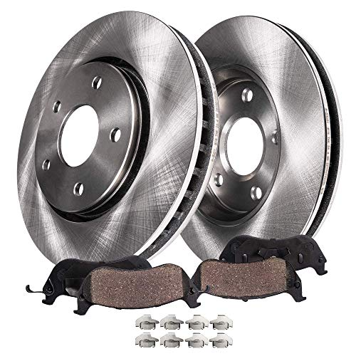 Detroit Axle - FRONT Brake Rotors & Ceramic Brake Pads w/Clips Hardware Kit - for V6 Chrysler Sebring, Dodge Stratus, Eclipse
