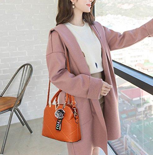 LINNUO Mujer Elegante Bolsos de Viaje PU Cuero Bolsa De Hombro Bolsos Bandolera Con Manija Casual Bolsa De Crossbody Naranja