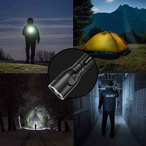 LETION LED Taschenlampe Taktische Taschenlampe Wiederaufladbare Taschenlampe 1200 Lumen 2200 mAh Mini-Taschenlampe mit 5 Modi Wasserdicht für Camping Outdoor Dog Walking Night Running