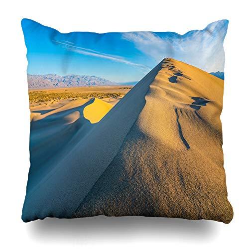 (Ahawoso Throw Pillow Cover Blue Mesquite Flat Sand Dunes California Adventure Orange Sky Clouds Death Design Dune Zippered Pillowcase Square Size 16x16 Inches Home Decor Pillow Case)