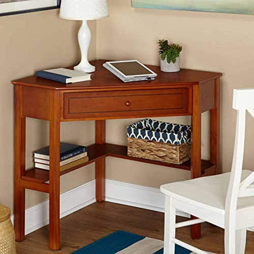 Wood Corner Computer Desk with Pullout Drawer and Shelf in Cherry