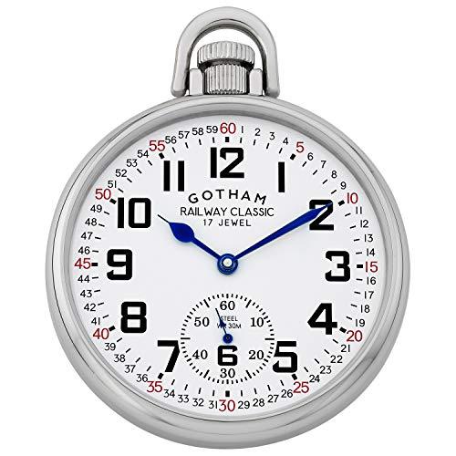 Gotham Men's Stainless Steel Mechanical Hand Wind Railroad Style Pocket Watch # GWC14108S