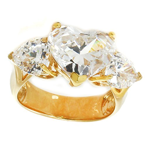 Michael Valitutti Sterling Silver Heart Shaped Cubic Zirconia Three Stone Ring (Cubic Stone Zirconia Signity)