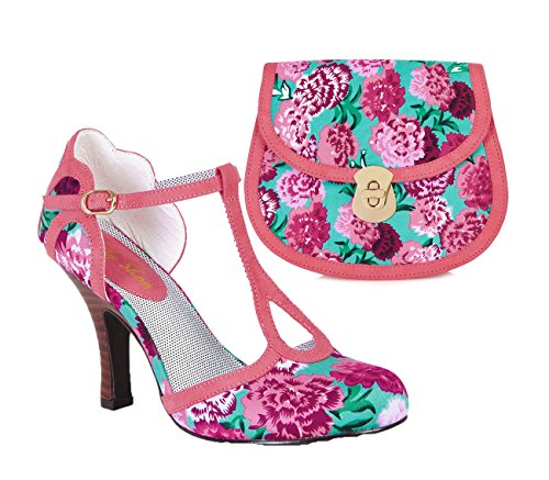 Ruby Shoo Women's Coral Floral Fabric Polly Mary Jane Pumps & Monaco Bag UK 7 EU 40 by Ruby Shoo