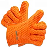 Mama Gloves® Heat Resistant BBQ Silicone Gloves - Perfect Use As Cooking Gloves, Baking, or Potholder - Non Stick Design - Dishwasher Safe - 100% Money Back Guarantee!