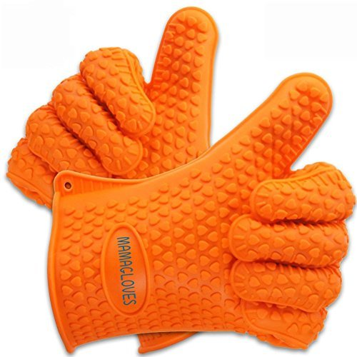 Mama Gloves® Heat Resistant BBQ Silicone Gloves - Perfect Use As Cooking Gloves, Baking, or Potholder - Non Stick Design - Dishwasher Safe - 100% Money Back Guarantee! by Mama Gloves