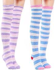 LittleForBig Schattig koraal fleece dij hoge lange poten Patten sokken 2 paar