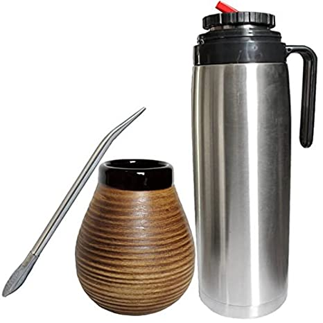 for Home and Travel Use Retains Heat Big and Dark Brown Natural Gourd-Shaped Mug Gaucho Bruno Large Ceramic Yerba Mate Cup Slip-Proof Gripping and Easy Cleaning Reusable Ideal for Teabags