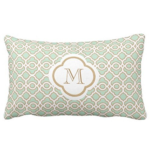 Pillowcase Standard Decorative Monogrammed Mint Green and Gold Moroccan Throw Bedding Pillow Shams 16X24 Inches