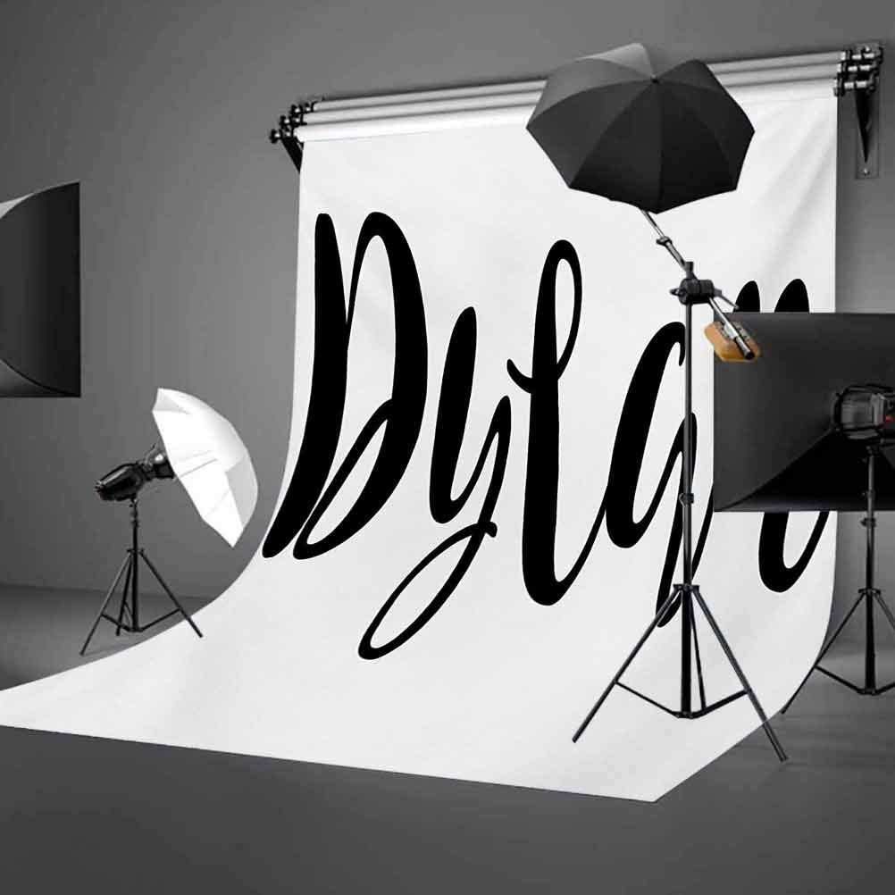 Dylan 10x12 FT Backdrop Photographers,Monochrome Arrangement of Letters Stylized Font Design Hand Drawn Typography Background for Party Home Decor Outdoorsy Theme Vinyl Shoot Props Black and White