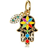 NINAQUEEN Hamsa Hand and Evil Eyes 925 Sterling Silver Lucky Dangle Charm Pendant Charm Fit Pandöra Charms Bracelets Necklace Birthday Gifts for Her Girlfriend Sisters Niece Teen Girls Women Wife