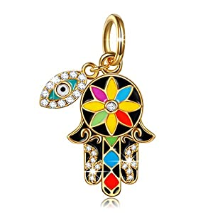 "NINAQUEEN ""Hamsa Hand and Evil Eye 925 Sterling Silver Multicolor Enamel Lucky Dangle Charms, Pendant for Choker Necklace"