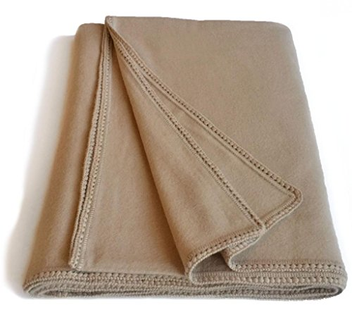 Inca Fashions Luxurious Alpaca Wool Bed Blanket, Naturally Thermal, Cal King, King, Queen/Double/Full, and Twin/Single Sizes (Queen/Full/Double, Fawn)