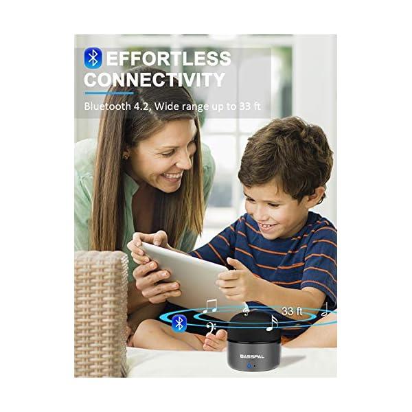 Enceinte Bluetooth Portables, BassPal Petit Haut-Parleur sans Fil avec Radio, Étanche IPX5, HD Stéréo Son et Basses Améliorées, Mini Format de Poche pour Douche de Voyage à Domicile Pool - 2 Pack 6