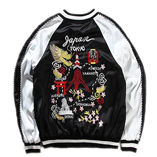 - Harajuku Spring and Autumn Tiger Bomber Jacket Men Yokosuka Retro Embroidery Double-Sided Jacket Black XXL