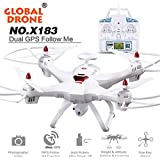 Owill Global Drone X183 With 5GHz WiFi FPV 1080P Camera GPS Brushless Quadcopter RC Helicopter (White)