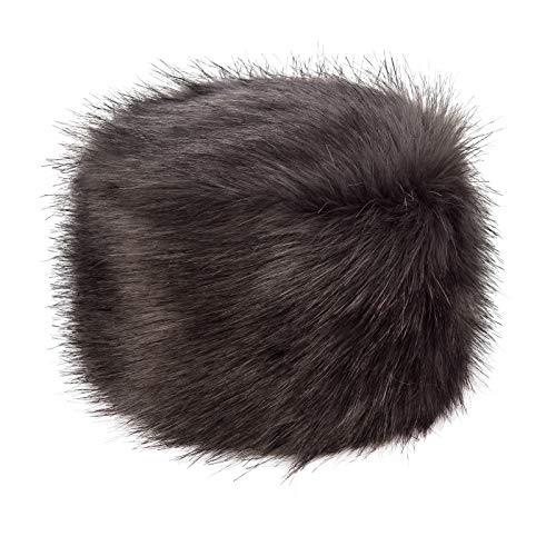 Futrzane Russian Faux Fur Hat for Women - Like Real Fur - Comfy Cossack Style (M, Graphite Wolf) (Fur Hat Mongolian)