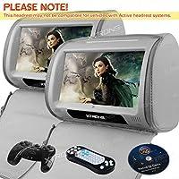 XTRONS® Grey 2*9 HD Touch Screen Car Headrest DVD Player Twin Pillow Monitor Mp3 Hd908t