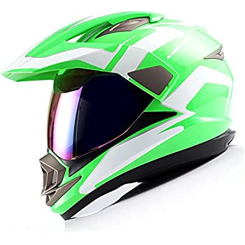 Dual Sport Helmet Motorcycle Full Face Motocross Off Road Bike Racing Green White