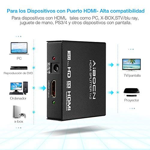 Aibocn HDMI Splitter 1x2, Divisor Splitter 4K 1080P HD 3D HDMI para TV/PS4/PS3/XboX/DVD BLU-Ray,Color Negro