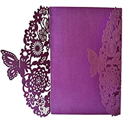 SODIAL(R) 10Pcs/Set Delicate Carved Butterflies Romantic Wedding Party Invitation Card Envelope Invitations for Wedding£ºPurple