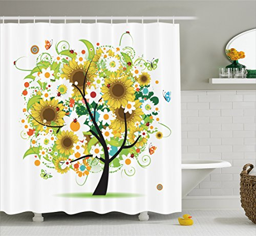 Ambesonne Sunflower Decor Collection, Floral Tree with Daisies Sunflowers Butterflies Ladybugs Swirl Spring Fantasy Image, Polyester Fabric Bathroom Shower Curtain, 84 Inches XLong, Yellow Green - Ladybug Shower Curtain