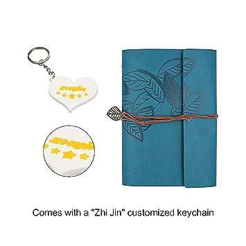 Zhi Jin Agenda A5 vintage à feuille volante, de poche, en cuir rechargeable, calepin avec anneaux de reliure, journal à couverture rigide bleu